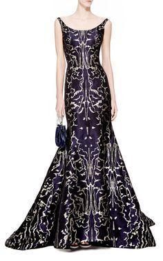 Metallic-Jacquard Gown by Oscar de la Renta - Moda Operandi