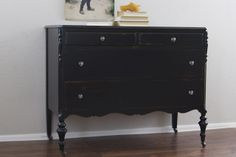Black antique dresser with General Finishes milk paint -Natty by Design