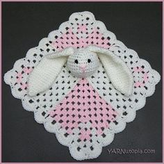 "Hippity Hoppity Bunny Lovey | ""Aw"" doesn't even begin to cover the cuteness of this easy crochet baby blanket with its floppy-eared bunny!"
