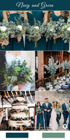 Top 8 Striking Navy Blue Wedding Color Palettes for 2019 Fall---navy blue and green garden wedding theme in spring and fall wedding dreses wedding bouquets wedding centerpeices wedding cakes diy wedding reception table settings Wedding Cakes With Flowers, Wedding Bouquets, Fall Bouquets, Bridesmaid Bouquets, Bridesmaids, Spring Wedding Decorations, Garden Wedding Themes, Spring Wedding Themes, Wedding Color Themes