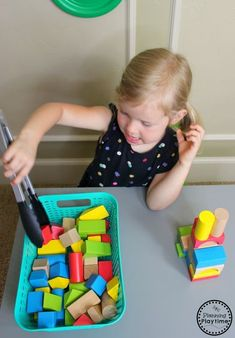 Tower Building with Tongs - Fine Motor Toddler Activities toddler activity Toddler Activities Fine Motor Activities For Kids, Motor Skills Activities, Toddler Learning Activities, Montessori Activities, Infant Activities, Kids Learning, Montessori Materials, Fine Motor Skills, 2 Year Old Activities