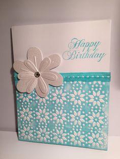 Flower Birthday Card - blank inside 4 1/4 x 5 1/2
