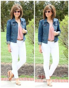 It's Day 27 of my 28 Days of Spring Fashion and I'm styling a pastel blouse with white denim.  #ootd #whatiwore #fashionover40 #graceandbeautystyle #springfashion