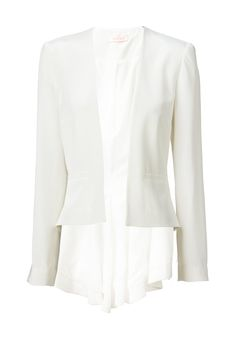 STAND AND DELIVER - beautifully tailored jacket with front jet pockets & light shoulder padding for shape. features curved back hem with soft flare detail. designed to complement the ready to wear collection. available in a crisp ivory.