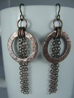 Hammered Copper Washers and Chain Tassels by GeishaCreations