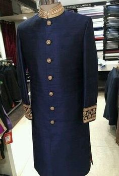 Indian Groom Wear - Blue Sherwani with Gold Embroidery Blue Sherwani, Sherwani Groom, Mens Sherwani, Wedding Sherwani, Punjabi Wedding, Groom Outfit, Groom Attire, Groom Dress, Anime Outfits