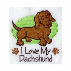 Dachshund  I Love My Tea Towel Kitchen by charlenesembroidery