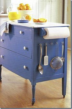 "Bigger than a ""craft,"" but REALLY need to do this!  Make an old bureau work as an kitchen island..."
