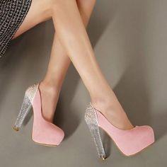 Beautiful Pink Crystal Heel Fashion..