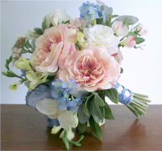Blush pink, periwinkle blue, white, and light green bouquet with open roses… Light Pink Bouquet, Light Blue Flowers, Blue Bouquet, Pink And White Flowers, Flower Lights, Freesia Bouquet, Purple Bouquets, White Roses, Pink Roses