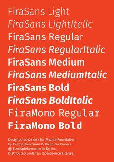 Firefox OS Typeface by spiekermann.com: Fira specimen free download #Typography #Firefox