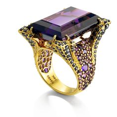 Ring | John Hardy. 18k gold, amethysts and black diamonds strange but intriguing ring I can't get past the shape of the head