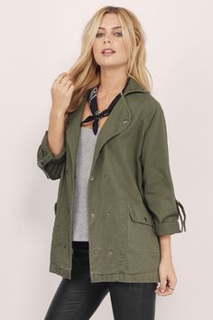 Casual Styles Up to 70% off, Tobi, Olive Geared Up Utility Jacket