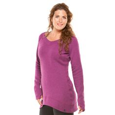 "Moving Comfort, ""Gotta Love It Sweater"" $72 -- A great post workout tunic. Open v-neckline, raw-edged seams and thumb loops."