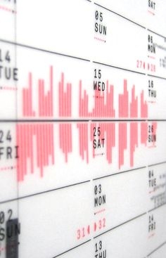 A bilateral calendar printed on translucent paper
