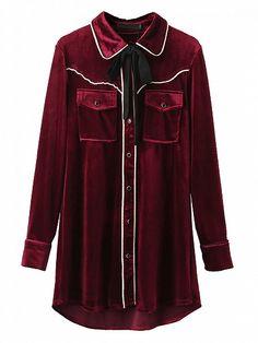 Burgundy Tie Neck Contrast Trim Velvet Pajamas Style Shirt   Choies