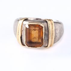 Topaz 14K Yellow Gold and Sterling Silver Vintage Ring, Size 3.75 by OldSoulDecorMarket on Etsy