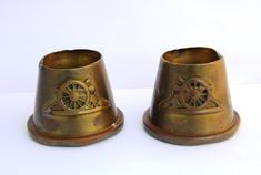 Pair of WW1 Trench Art Brass Shell Inkwells with Artillery Badges - The Collectors Bag Badges, Trench, Shells, Brass, Pairs, Antiques, Conch Shells, Antiquities, Antique