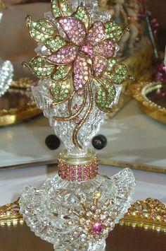 Antique Bejeweled Perfume Bottle 1 By Debbie Del Rosario-perfume, bottle, antique, jewels, crown, cottage, romantic, mirror, Juliana, Weiss, Eisenberg, Lisner, Pink