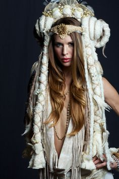 White Ram Horn Goddess Headdress Wig