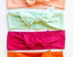Set of Four CHOOSE YOUR COLOR Jersey Knit Knotted Bow Headband/Headwrap Baby Toddler Child Adult