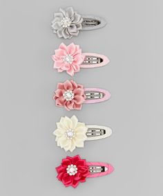 Loving this Pink & Gray Flower Clip Set on #zulily! #zulilyfinds