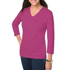 Amy Alder Womens Classic-Fit Basic 3/4 Sleeve V-Neck Shirt in Fuscia Pink is made from soft premium Egyptian cotton. A new wardrobe staple and GuyGifter exclusive.