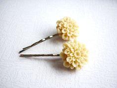 Esküvői Hajdísz Krémszín Virágos.  , Kiegészítő, Ékszer, Hajbavaló, hajcsat, #Meska