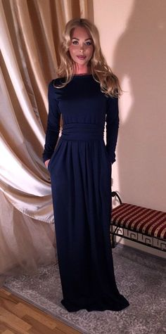 Maxi Dress Long Sleeves Pockets Navy Blue by DesirVale on Etsy