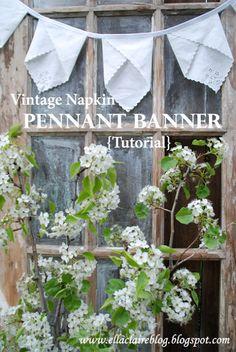 {Ella Claire}: Vintage Napkin Pennant Banner Tutorial
