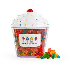 Nestled inside our signature cupcake container is an assortment of gummy bears with 12 distinct flavors. It's the perfect gift for gummy bear fanatics! When the candy's gone, use the cute cupcake to store other sweet treasures. Gummy Bear Flavors, Gummy Bears, Dylan's Candy, All Candy, Candy Party, Cupcake Container, Bear Cupcakes, Food Stations, Candy Store