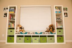 Playroom: Seating Bench Part 2  using expedite shelves from IKEA  -instructions on how to make seat cover