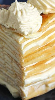 Light, fluffy and super EASY Lemon Mascarpone Crepe Cake tastes like a bite of sunshine. The BEST no bake dessert recipe perfect for any spring occasion! No Bake Desserts, Just Desserts, Delicious Desserts, Dessert Recipes, Yummy Food, Pancake Recipes, Waffle Recipes, Breakfast Recipes, Crepe Cake