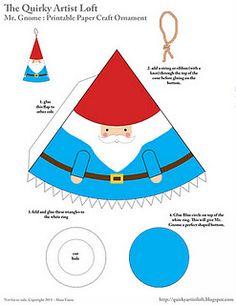Free Paper Craft Mr. Gnome Ornament