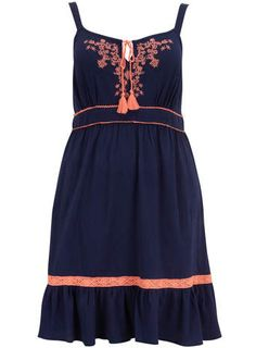 Evans Navy Cotton Crinkle Midi Dress - 20% Off Dresses - Memorial Day Weekend Treats - Sale  Offers