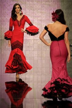 Pasarela Simof 2014:  vestido flamenca rojo y encaje negro