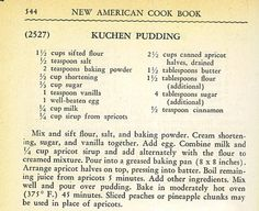 vintage kuchen recipe, Peach Kuchen Recipe This Peach Kuchen Recipe is a recipe from the Vintage Recipe Project. I've made it in a jar but you could just make it in a baking pan instead. Retro Recipes, Old Recipes, Vintage Recipes, Cookbook Recipes, Baking Recipes, Baking Pan, 13 Desserts, Pudding Desserts, Pudding Recipes