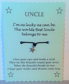 Best Uncle Gift Wish Bracelet By GemsNJewells Birthday Gifts