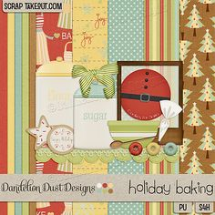"""Holiday baking time is here! Scrap those favorite baking photos with """"Holiday Baking"""" from Dandelion Dust Designs! Available now at Scrap Take Out: http://scraptakeout.com/shoppe/Holiday-Baking-By-Dandelion-Dust-Designs.html"""