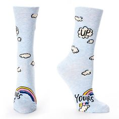 For those days when you reluctantly have to play nice. you can tuck away your true feelings into your favorite kicks with our delightfully outspoken Up Yours Women's Crew Socks. Silly Socks, Funny Socks, Happy Socks, Golf Socks, Crew Socks, Blue Q Socks, Rainbow Socks, Sock Shop, Secret Sale