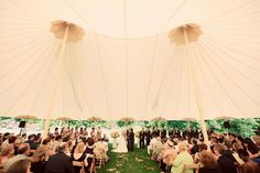A sailcloth tent with its soaring ceiling detail. Photo Source: Southern Weddings. Read more on www.intimateweddings.com #weddingtent #receptions