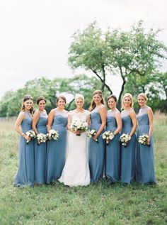dusty blue bridesmaid dresses | Loft Photography