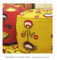 Footstool: Bright and lovely footstool to add a little zing to the bedroom. suzani pouf footstool