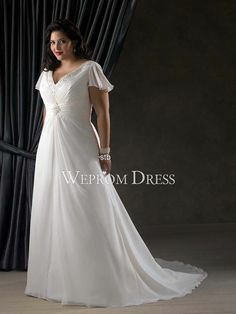 Reasonable Empire|A-Line Short Sleeve Chapel Train|Floor-Length Chiffon Beading Plus Size Plus Size Wedding Dresses -wepromdresses.com