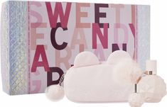 Delightfully sweet and oh so flirtatious! Ariana Grande SWEET LIKE CANDY Gift Set features a oz. Parfum, and a must-have, pink cosmetic bag in a playful, candy wrapped gift set box. Ariana Grande Perfume, Sweet Like Candy, Thing 1, Candy Gifts, Parfum Spray, Cosmetology, How To Feel Beautiful, Things To Buy, The Balm