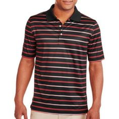 George Men's Stripe Performance Polo, Size: Large, Black
