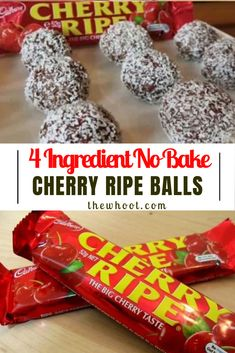 Cherry Ripe Balls Taste Sensation No Bake 4 Ingredients Video Sweet Desserts, Sweet Recipes, Snack Recipes, Dessert Recipes, Party Recipes, Christmas Lunch, Christmas Cooking, Christmas Treats, Christmas Recipes