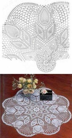 Crochet Tablecloth Pattern, Crochet Doily Diagram, Crochet Doily Patterns, Crochet Mandala, Crochet Chart, Thread Crochet, Crochet Motif, Crochet Lace, Knitting Patterns