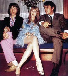 Mick Jagger, Marianne Faithfull, Alain Delon