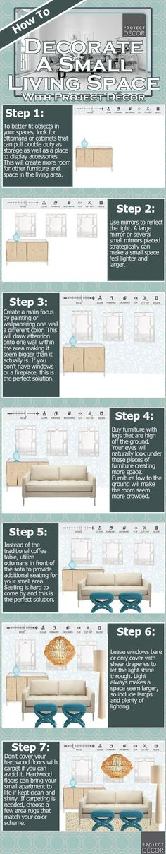 How to decorate a small living space. Great info for a moving family like us.